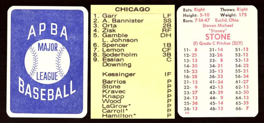 1977 APBA Season - CHICAGO WHITE SOX Team Set