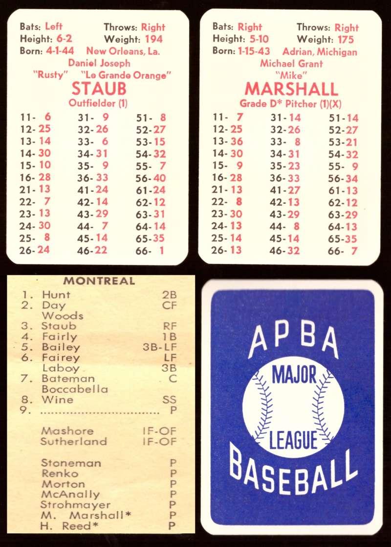 1971 APBA Season - MONTREAL EXPOS 20 Card Team Set (From I972)
