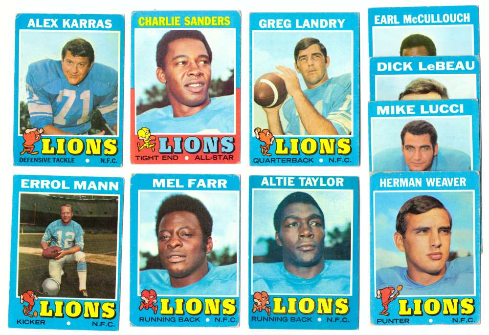 1971 Topps Football Team Set (VG Condition) - DETROIT LIONS