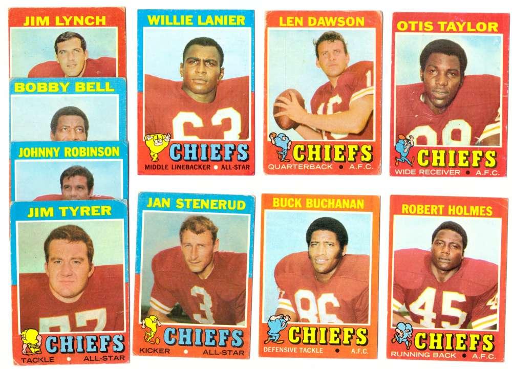 1971 Topps Football Team Set (VG Condition) - KANSAS CITY CHIEFS
