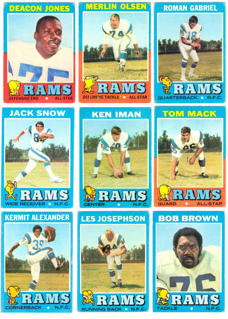 1971 Topps Football Team Set (VG Condition) - LOS ANGELES RAMS