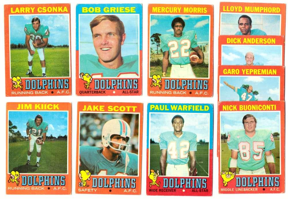 1971 Topps Football Team Set (VG Condition) - MIAMI DOLPHINS