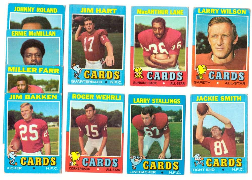 1971 Topps Football Team Set (VG Condition) - ST. LOUIS CARDINALS