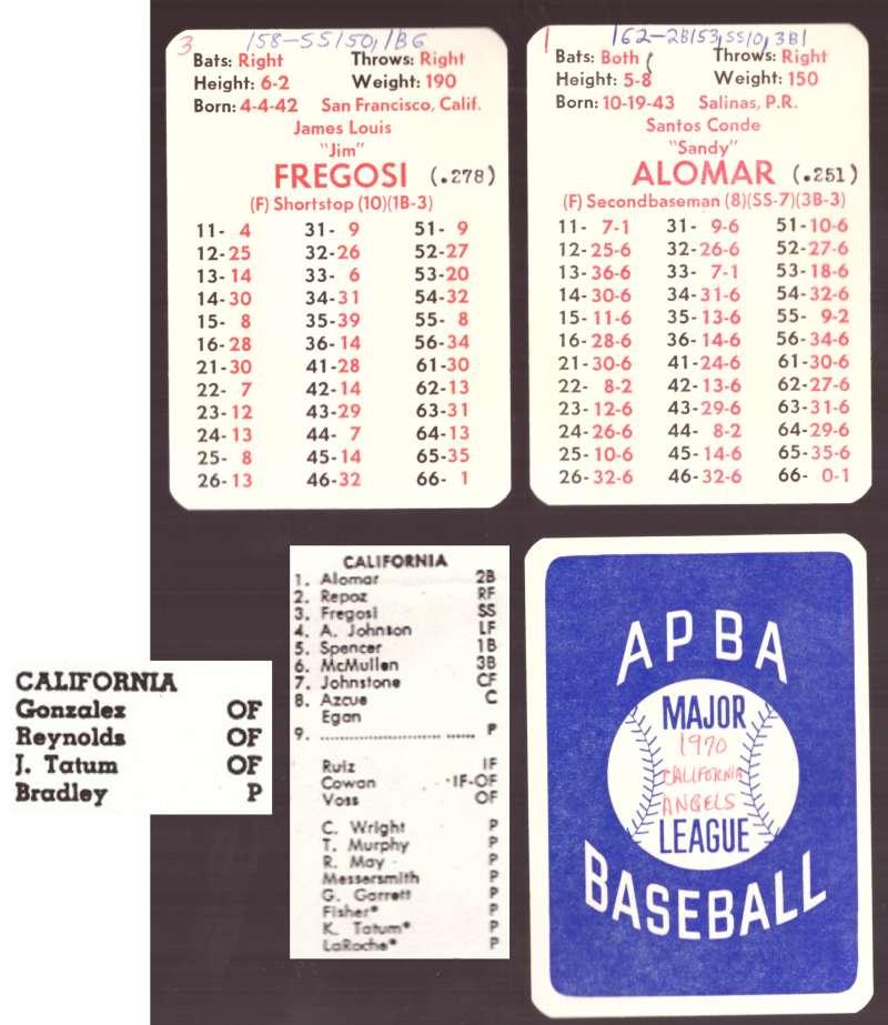 1970 APBA Season w/ XB (Cards written on) - CALIFORNIA ANGELS Team set