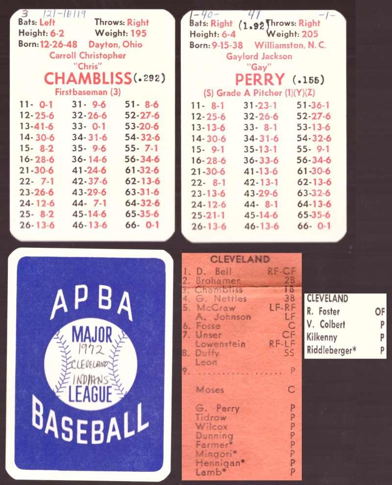 1972 APBA Season w/ Extra Players (writing) - CLEVELAND INDIANS Team Set