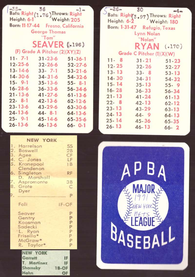 1971 APBA Season w/ XB (Cards written on) NEW YORK METS Team Set