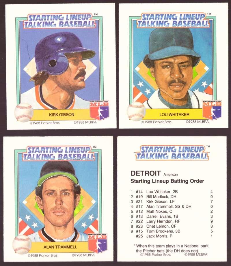 1988 Starting Lineup Talking Baseball DETROIT TIGERS Team Set