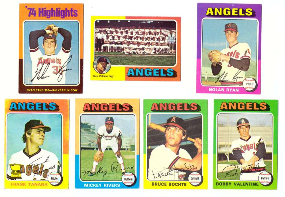 1975 Topps EX+ Condition (D) - CALIFORNIA ANGELS 28 Card Team Set