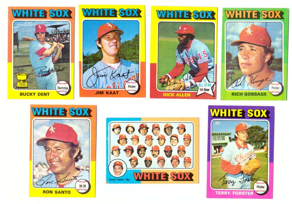 1975 Topps EX+ Condition (D) - CHICAGO WHITE SOX 26 Card Team Set