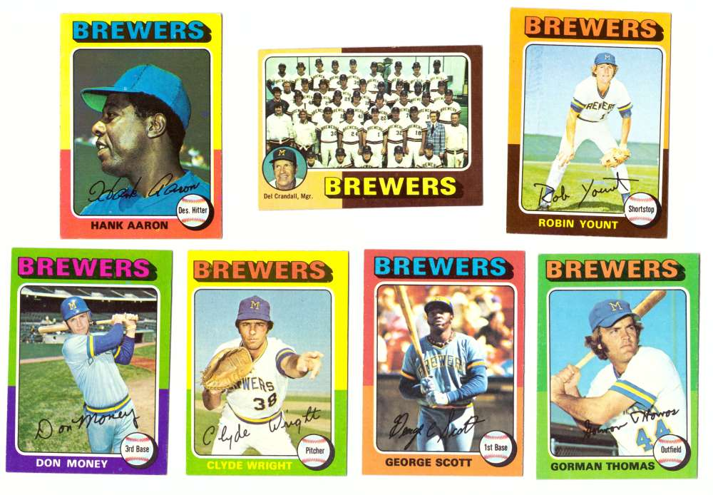 1975 Topps EX+ Condition (D) - MILWAUKEE BREWERS 25 Card Team Set