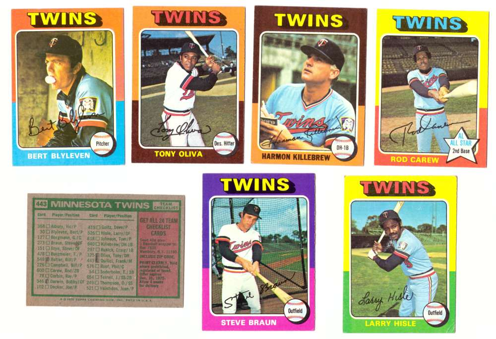 1975 Topps EX+ Condition (D) - MINNESOTA TWINS 22 Card Team Set Checklist Marked