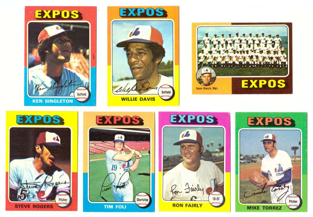 1975 Topps EX+ Condition (D) - MONTREAL EXPOS 25 Card Team Set