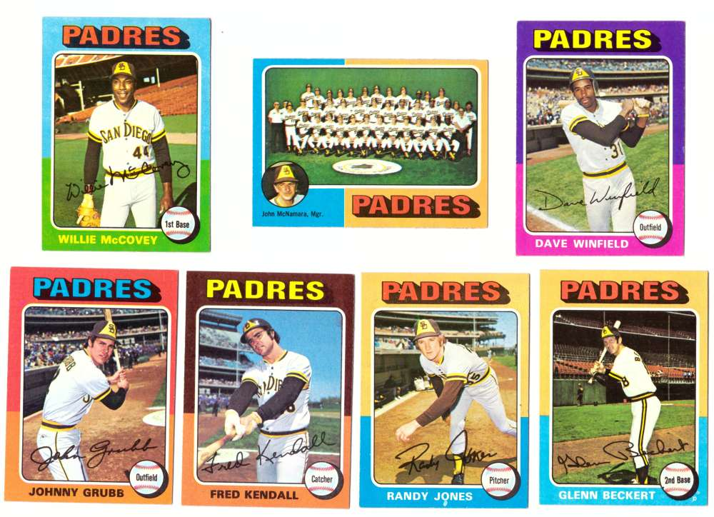 1975 Topps EX+ Condition (D) - SAN DIEGO PADRES 22 Card Team Set