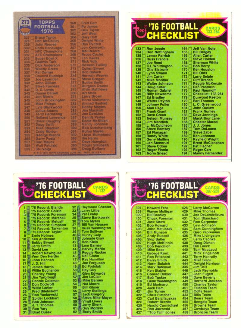 1976 Topps Football VG+ - Checklists (B)