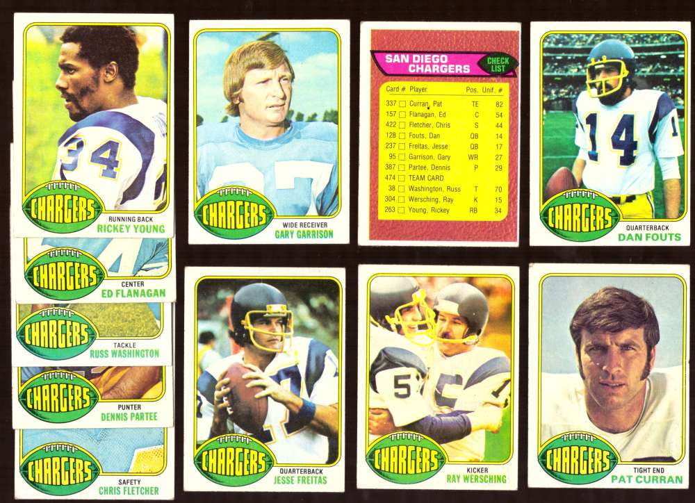 1976 Topps Football VG+ Team Set (B) - SAN DIEGO CHARGERS