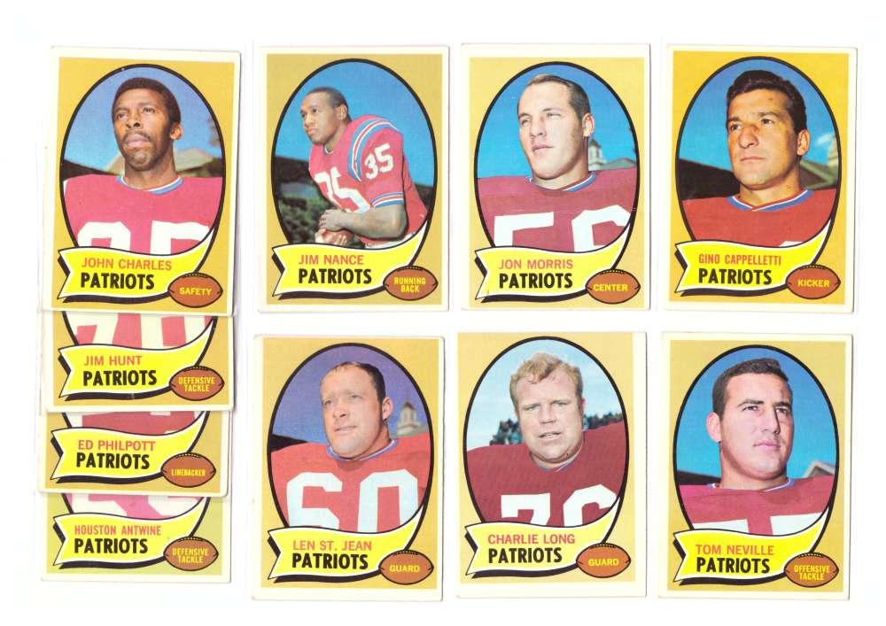 1970 Topps Football (B) Team Set - BOSTON PATRIOTS