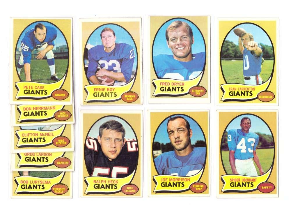 1970 Topps Football (B) Team Set - NEW YORK GIANTS