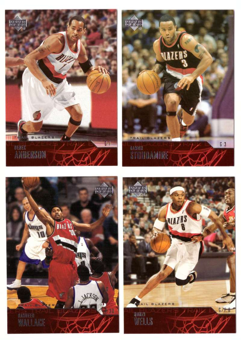 2003-04 Upper Deck Basketball (Base 1-300) Team Set - Portland Trail Blazers