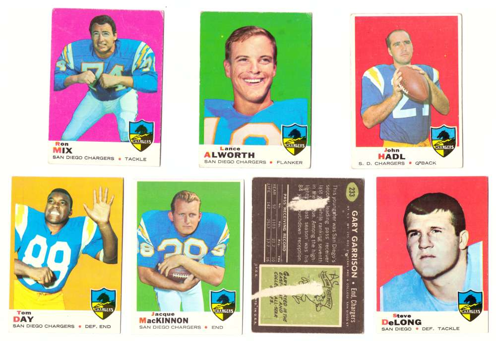 1969 Topps Football Team Set - SAN DIEGO CHARGERS
