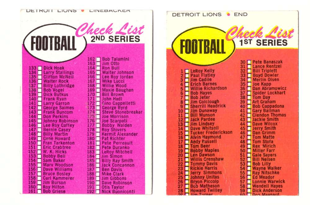 1969 Topps Football Checklist 2 cards Unmarked but miscut