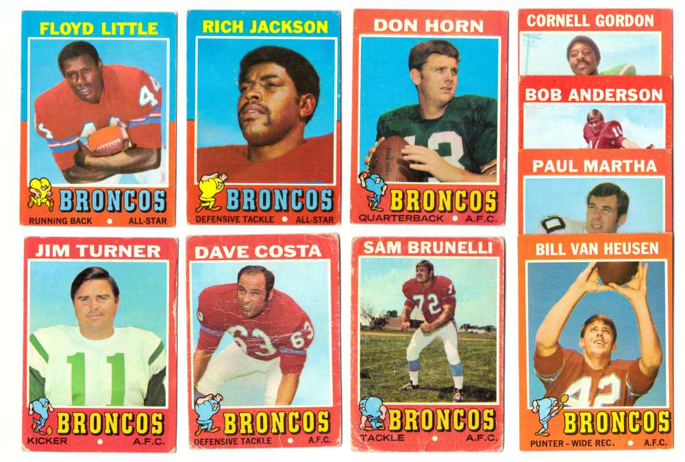 1971 Topps Football Team Set (VG Condition (B)) - DENVER BRONCOS