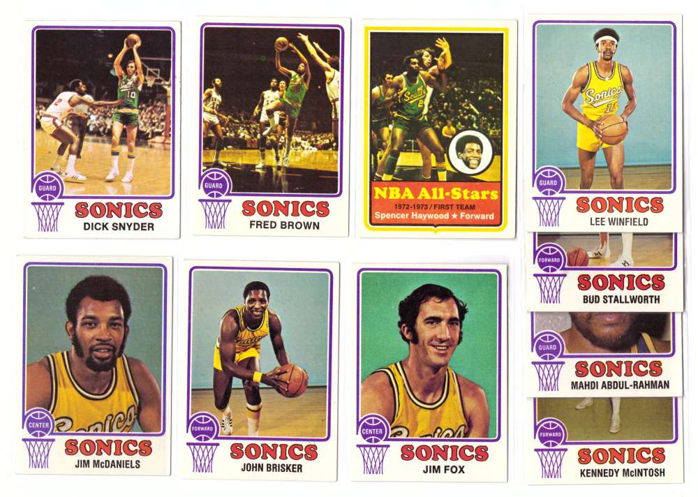 1973-74 Topps Basketball Team Set - Seattle Supersonics
