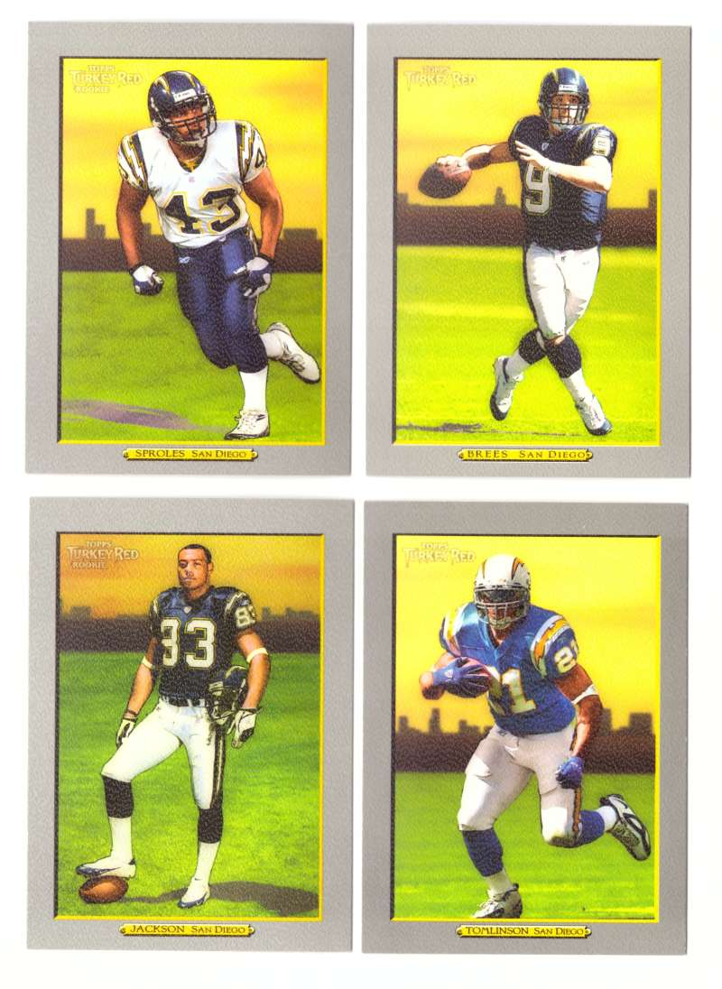 2005 Topps Turkey Red Football Near Team Set - SAN DIEGO CHARGERS missing Rivers