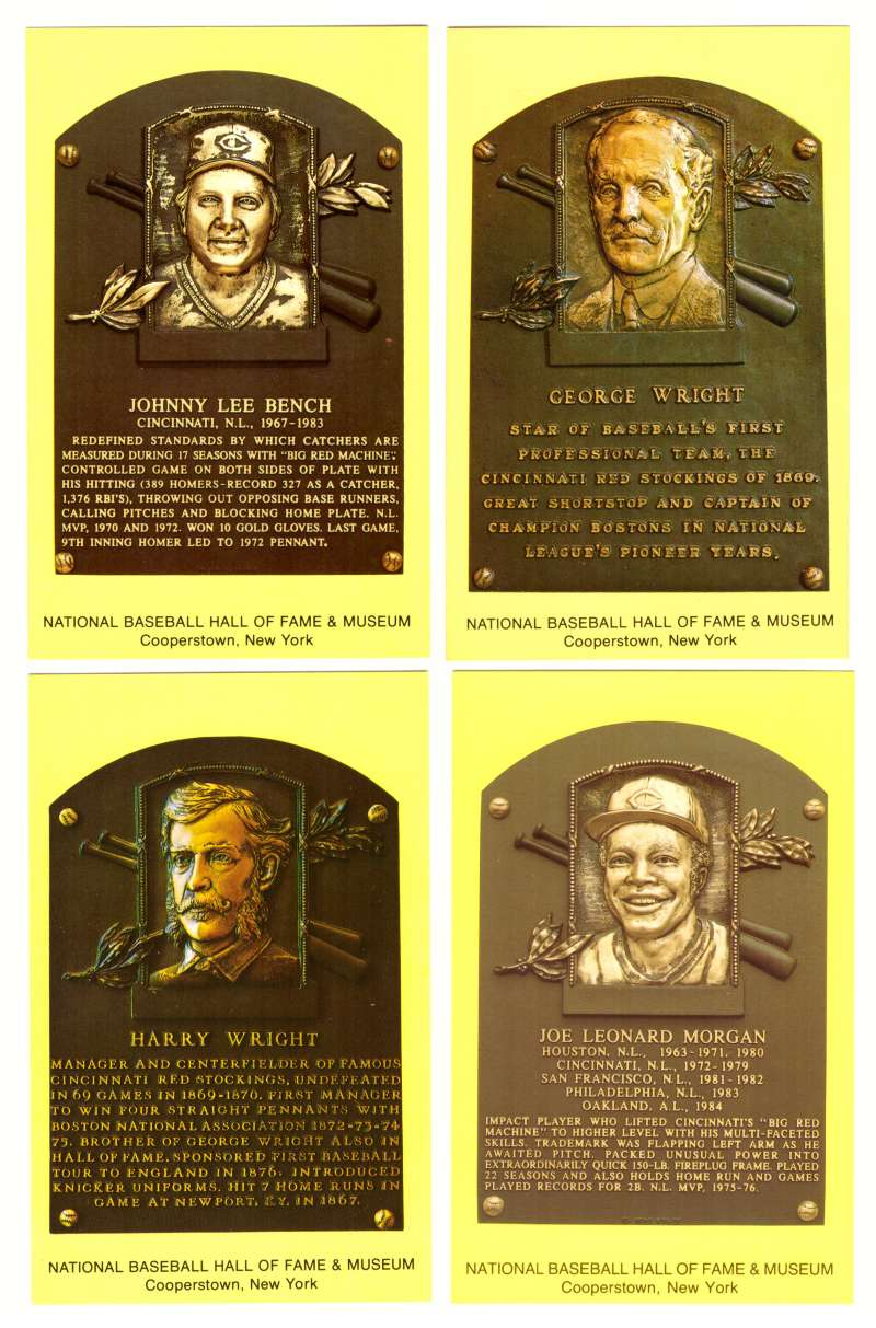 1993 Cooperstown Hall of Fame Plaque Postcards CINCINNATI REDS Team