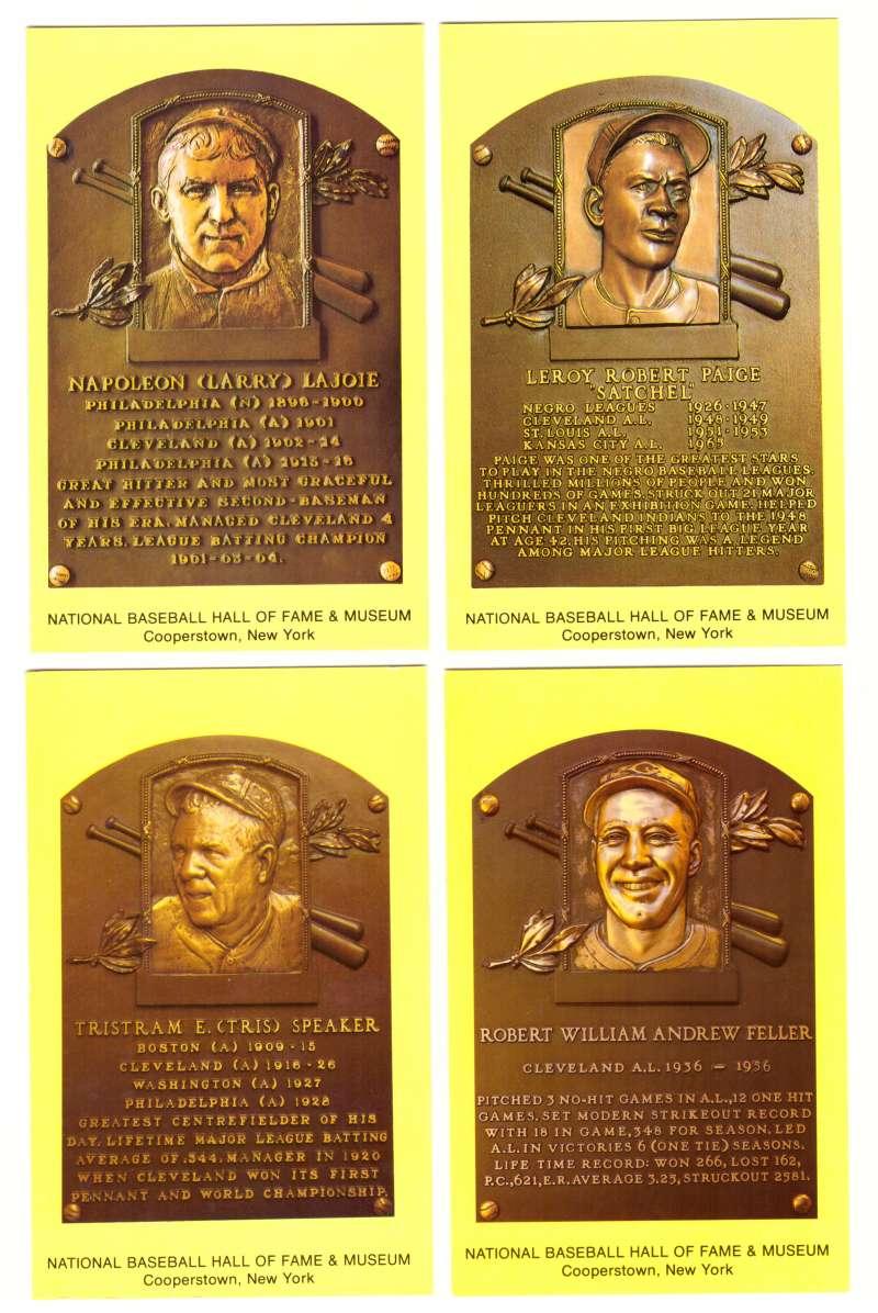 1993 Cooperstown Hall of Fame Plaque Postcards CLEVELAND INDIANS Team Set