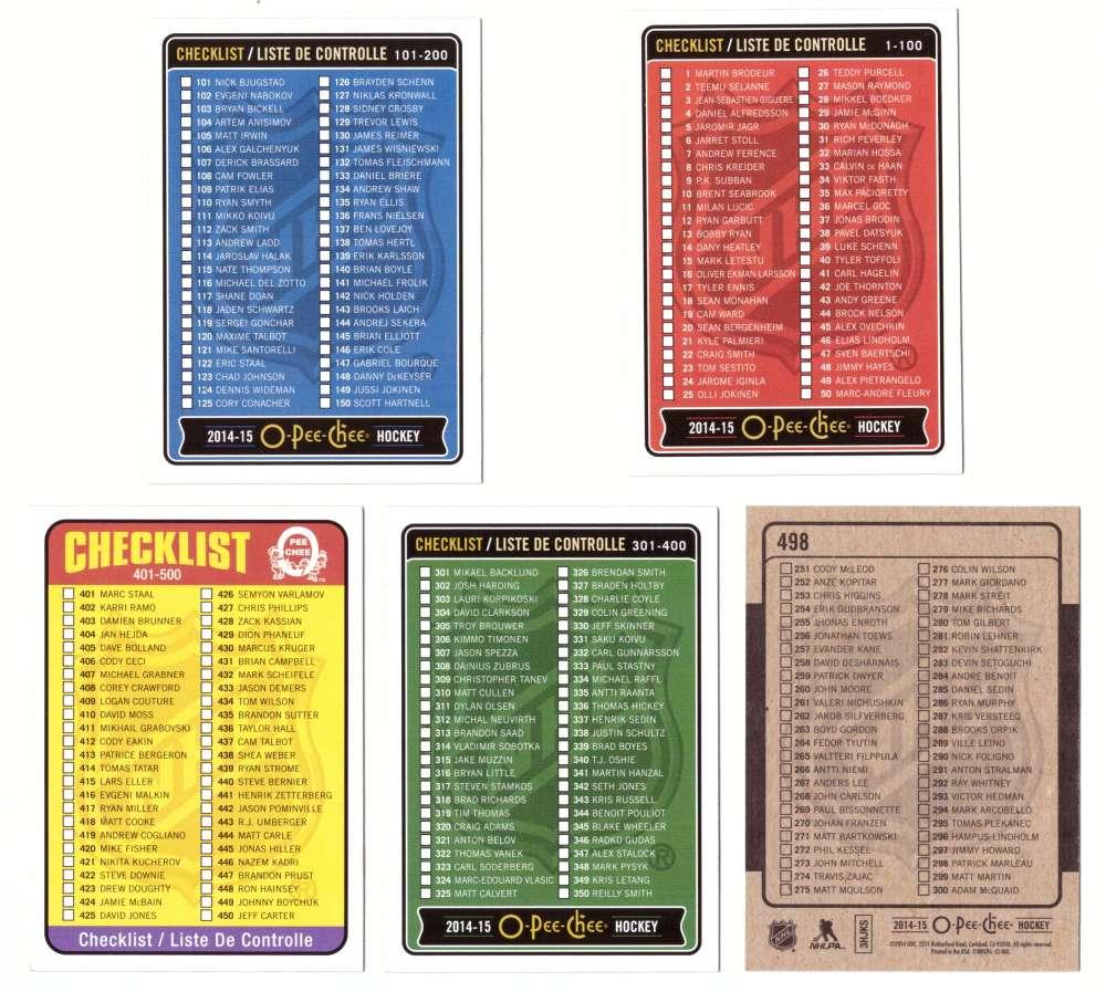 2014-15 O-Pee-Chee (Base 1-500) Hockey Team Set - Checklist