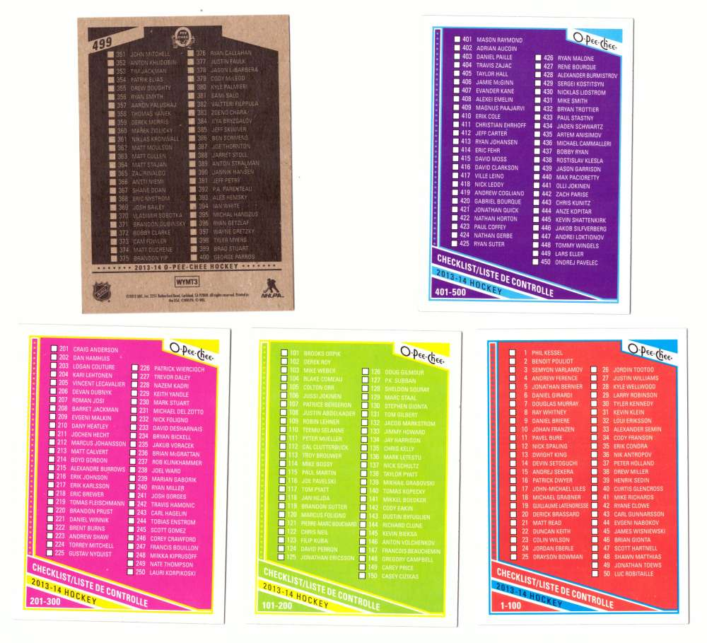 2013-14 O-Pee-Chee (Base 1-500 OPC) Hockey - Checklist
