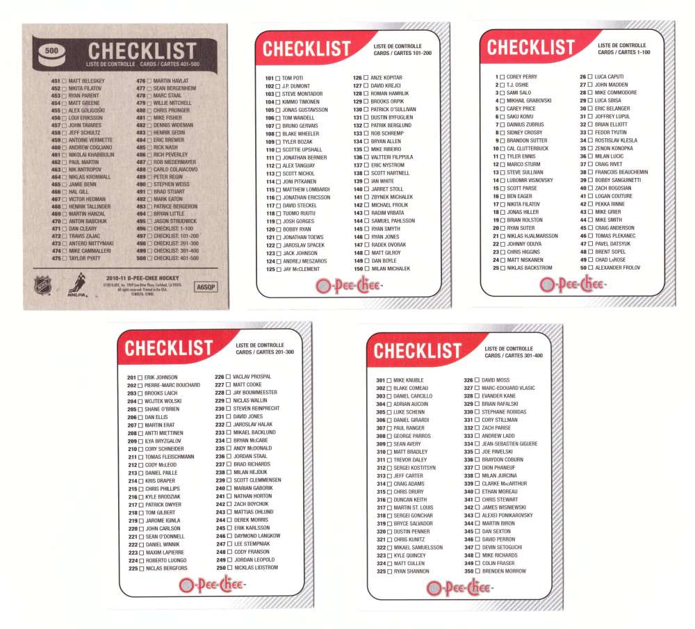 2010-11 O-Pee-Chee (Base 1-500) Hockey Team Set - Checklist