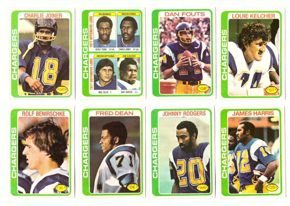 1978 Topps Football Team Set (Water Damage) - SAN DIEGO CHARGERS