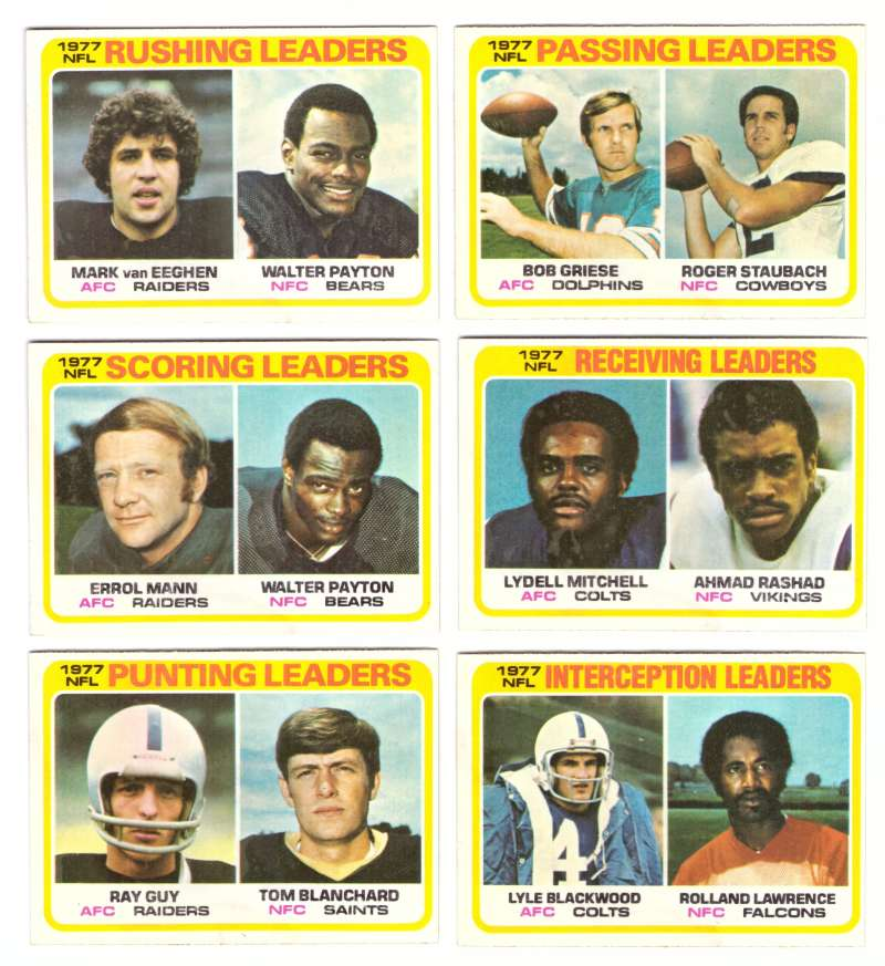 1978 Topps Football (Water Damage) - League Leaders (6 card Subset)
