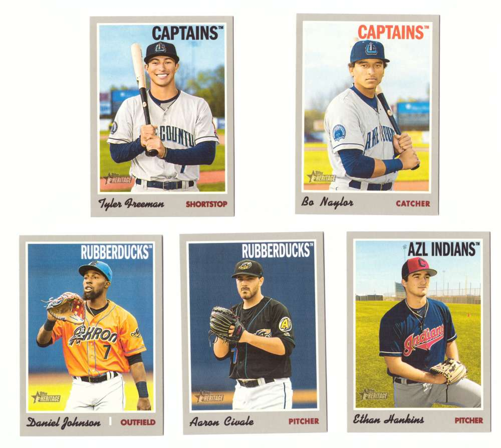 2019 Topps Heritage Minors - CLEVELAND INDIANS - 5 Card Team Set