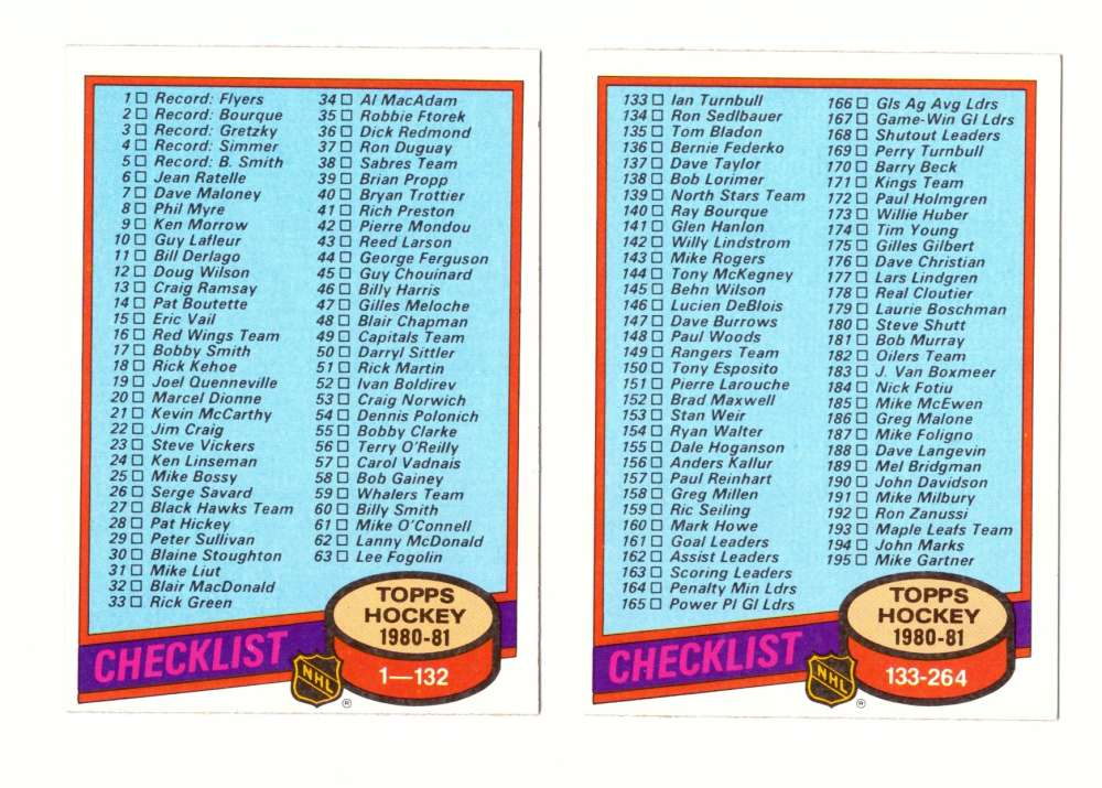 1980-81 Topps Hockey Checklist 2 card set