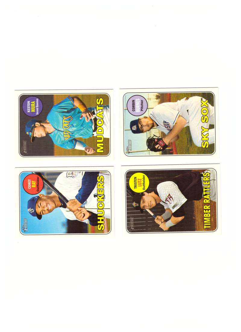2018 Topps Heritage Minors w/ SP MILWAUKEE BREWERS 4 Card Team Set