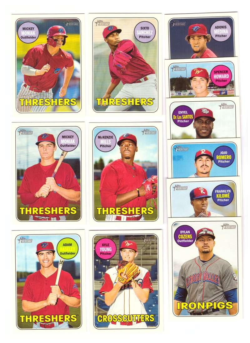 2018 Topps Heritage Minors w/ SPs PHILADELPHIA PHILLIES 12 Card Team Set