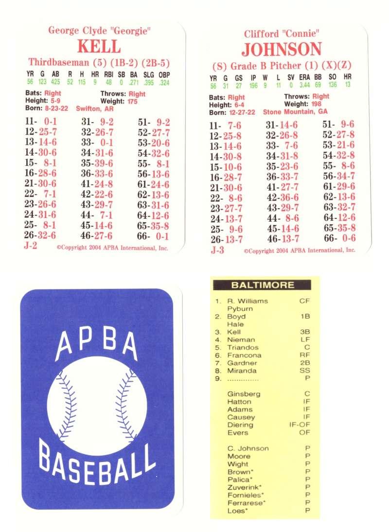 1956 APBA (RR Reprint) Season (Copyright 2OO4) - BALTIMORE ORIOLES Team Set