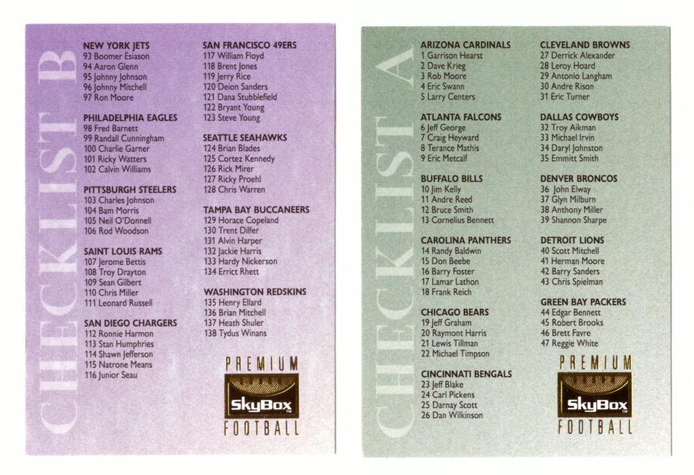 1995 SkyBox Premium Football Checklist