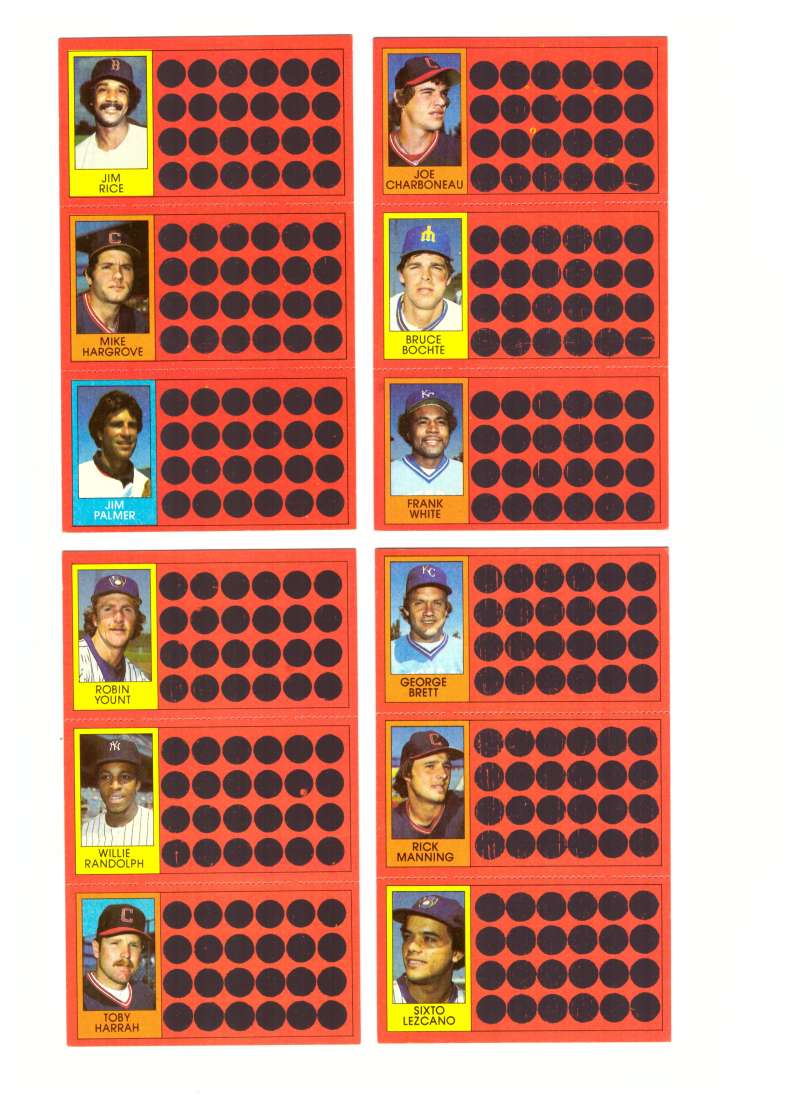 1981 Topps Scratchoff (Full Panel each player) CLEVELAND INDIANS Team Set