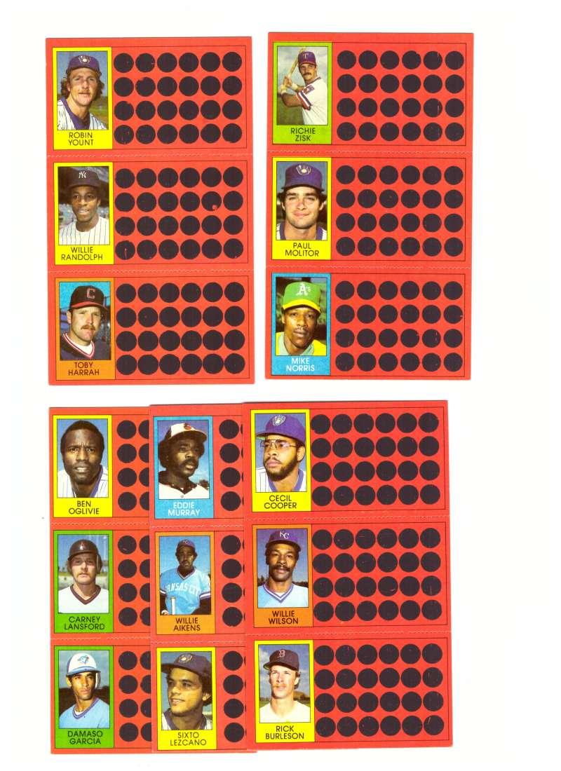 1981 Topps Scratchoff (Full Panel each player) MILWAUKEE BREWERS Team Set