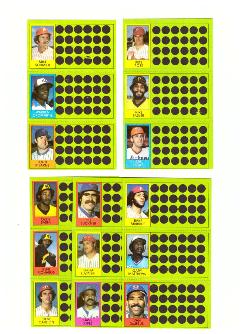 1981 Topps Scratchoff (Full Panel each player) PHILADELPHIA PHILLIES