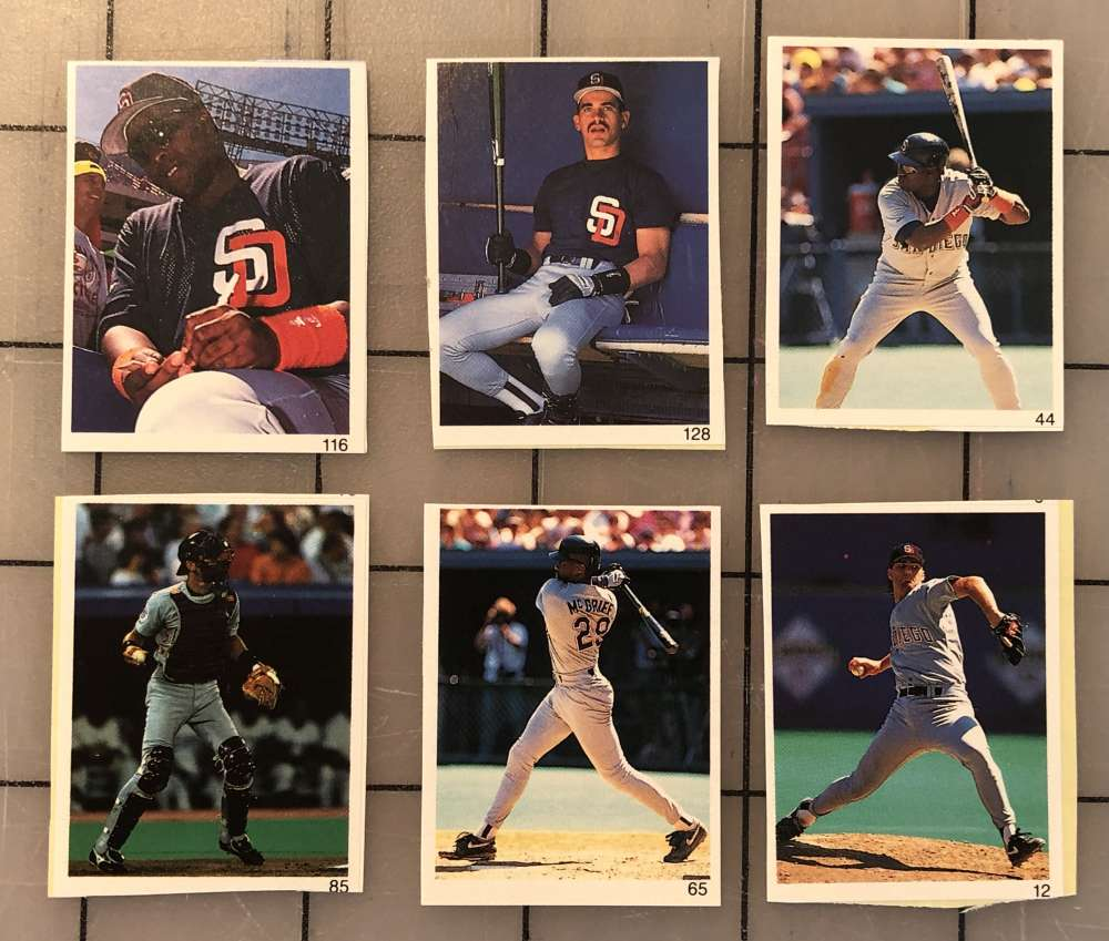 1992 Red Foley Stickers - SAN DIEGO PADRES Team Set