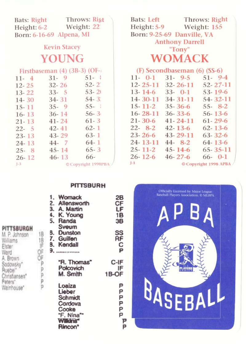 1997 APBA Season w/ XB Players 30 Cards - PITTSBURGH PIRATES Team Set