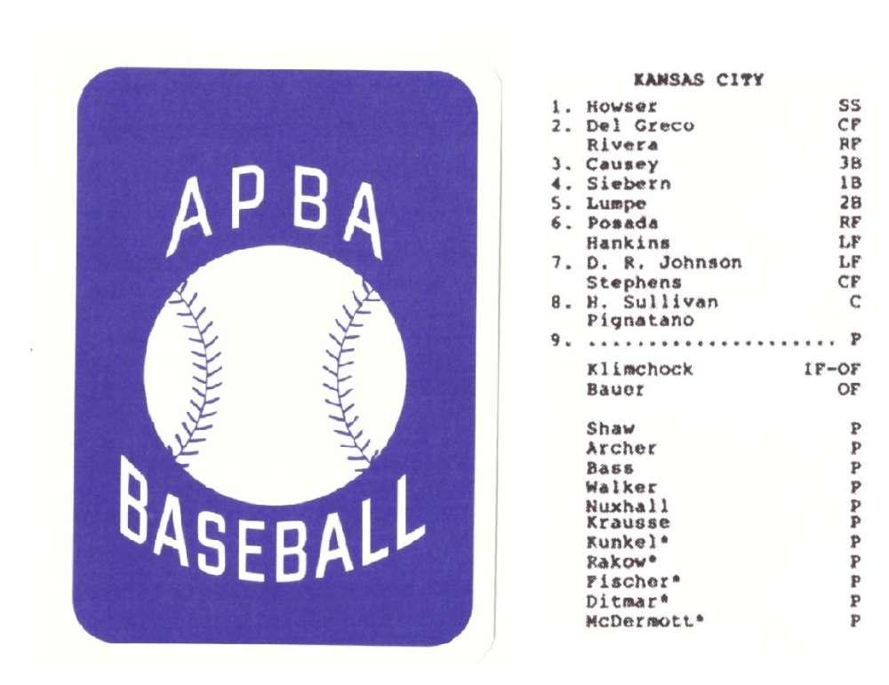 1961 APBA RR Reprint Season (from 2OO4) - KANSAS CITY A's Team set