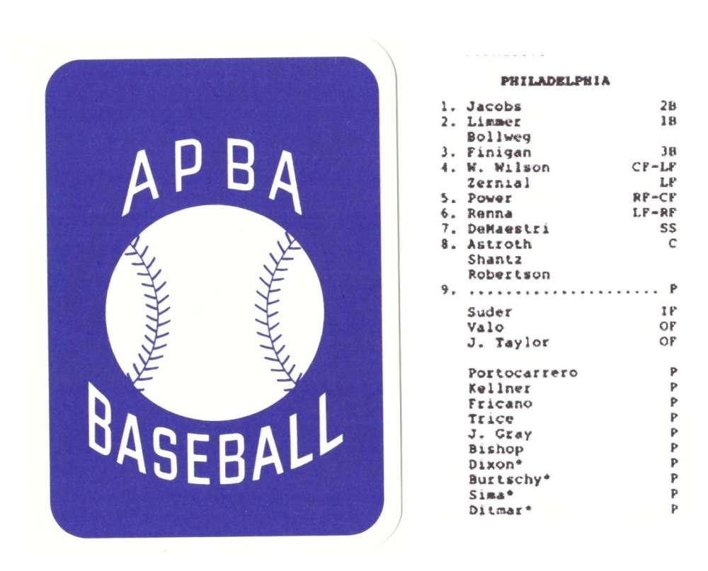 1954 APBA (RR Reprint) Season - PHILADELPHIA ATHLETICS / As Team Set (Issued 2OO7)