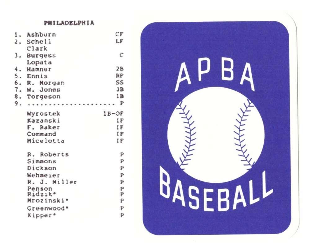 1954 APBA (RR Reprint) Season - PHILADELPHIA PHILLIES Team Set (Issued 2OO7)