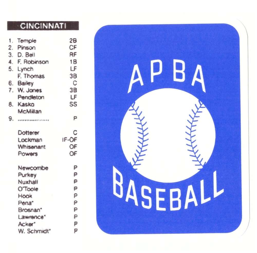 1959 APBA (RR Reprint) Season - CINCINNATI REDS Team Set