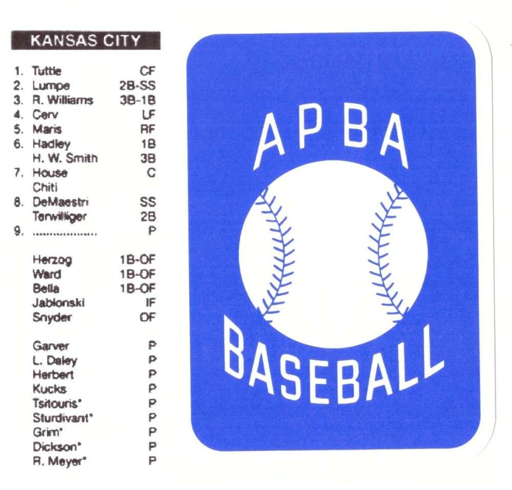 1959 APBA (RR Reprint) Season - KANSAS CITY ATHLETICS / As Team Set (Issued 2OO7)
